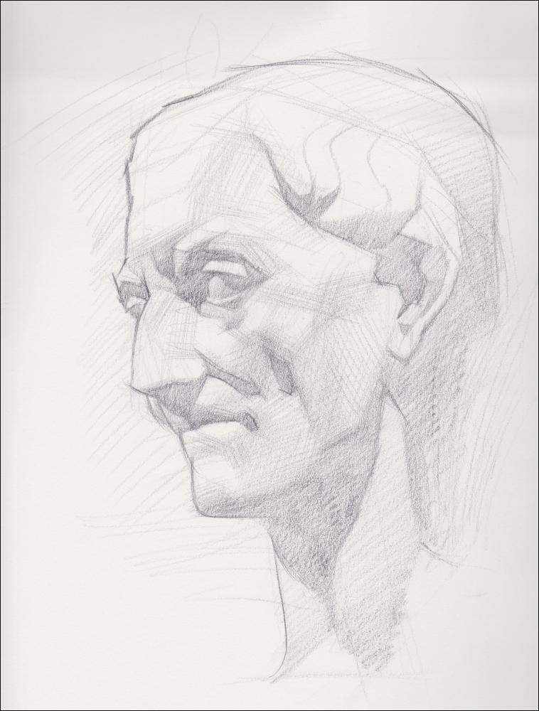 Roman Head, graphite on paper, 9x12 inches